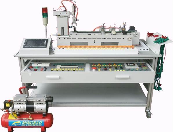 本系统在铝合金导轨式实训台上安装有送料,机械手搬运,材料分拣的三个